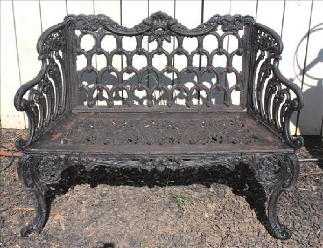 Pair black cast iron garden benches, 38 in. W.