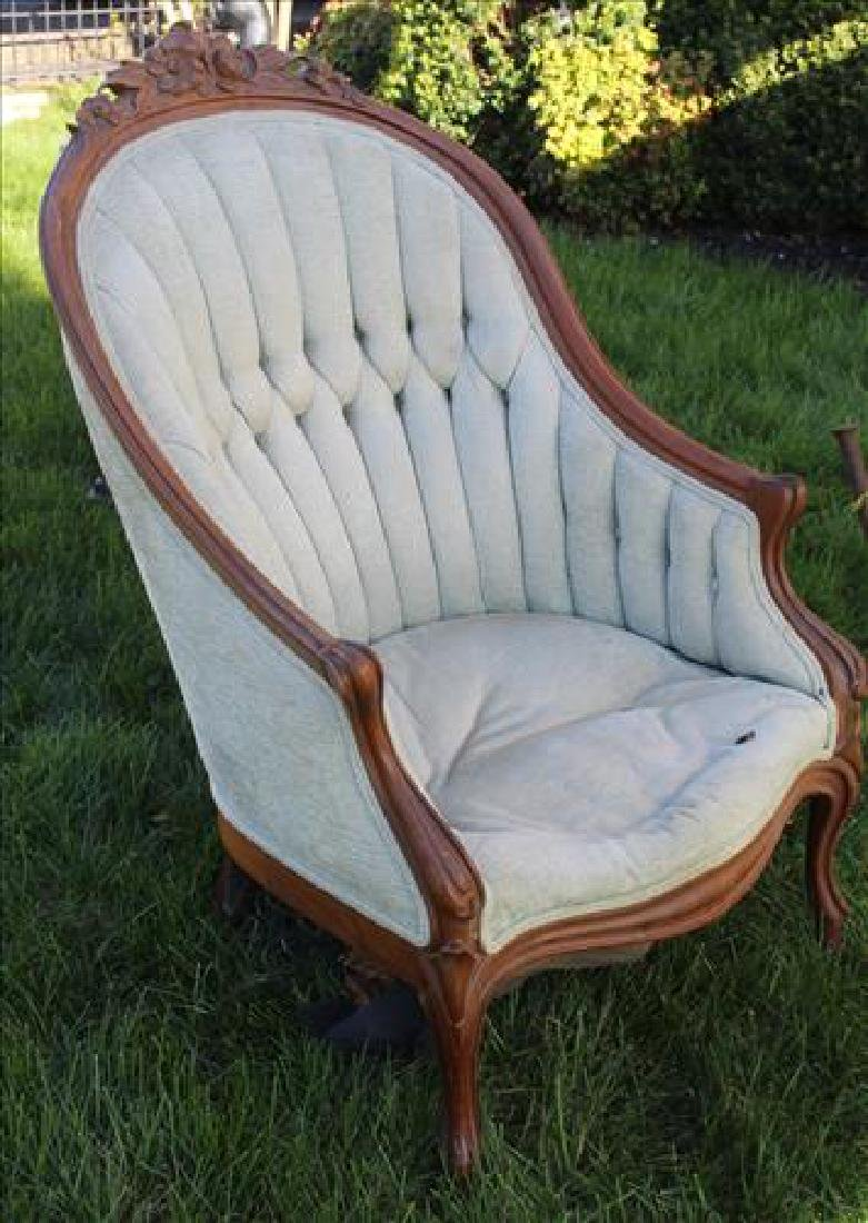 Walnut Victorian barrel style parlor chair, needs