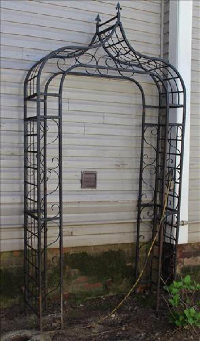 Black cast aluminum arbor, 80 in. T, 52 in. W, 15 in.