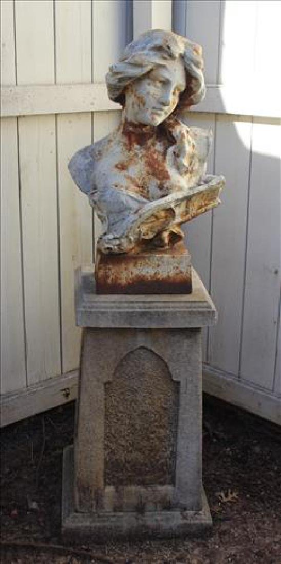 2 piece cast iron bust of  woman and concrete pedestal