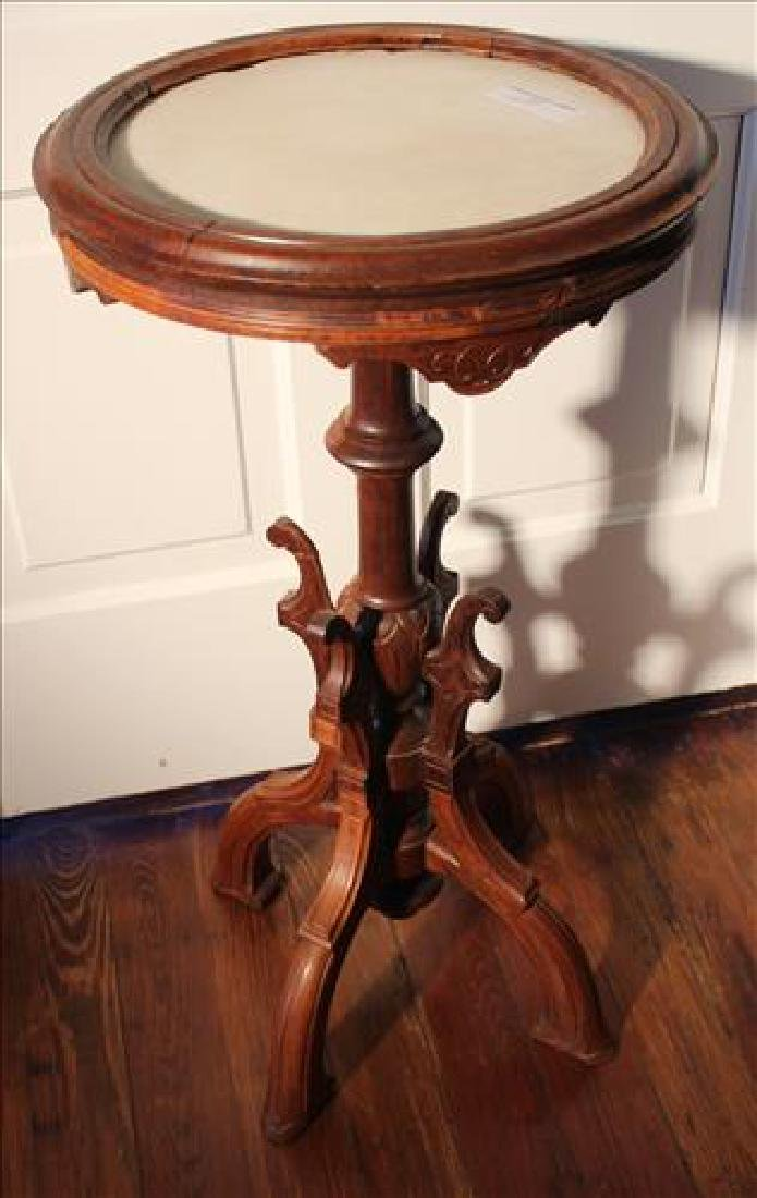 Walnut Victorian plant stand with marble insert top