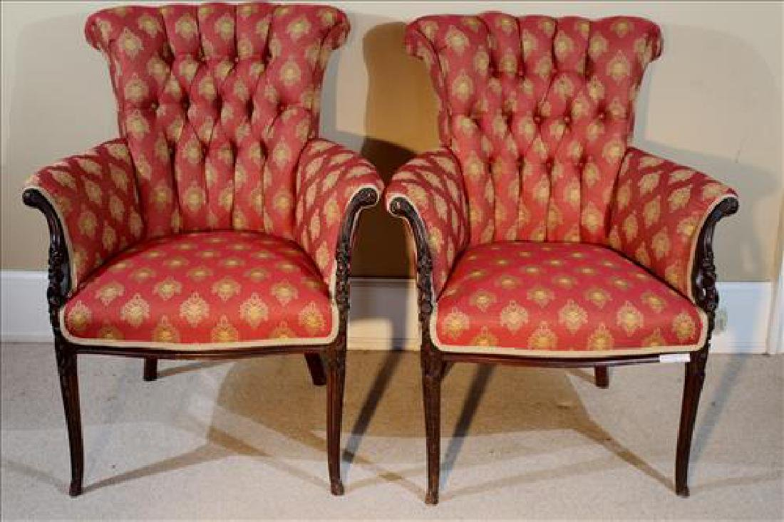 Pair walnut French parlor chairs w red and gold