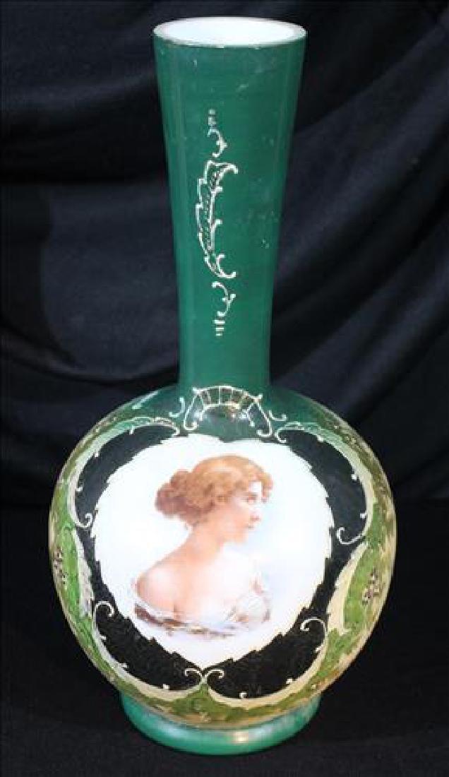 Victorian hand painted Bristol portrait vase