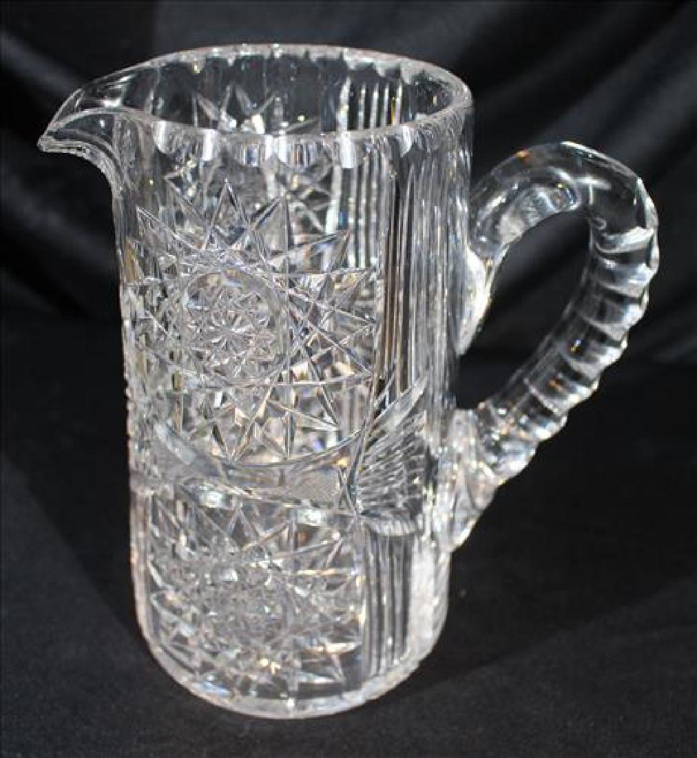 Brilliant cut glass pitcher, 8 in. T, 7 in. H-S