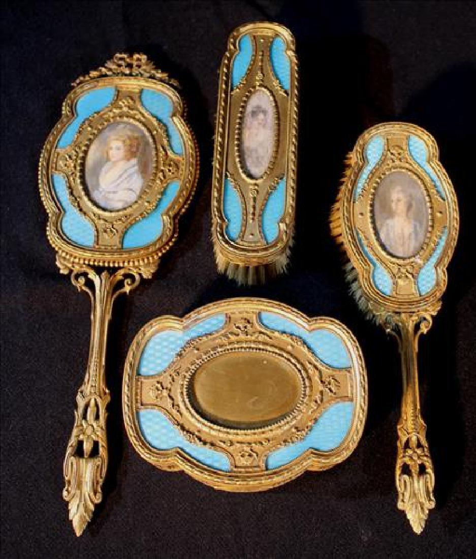 French Victorian dresser set, 4 pieces