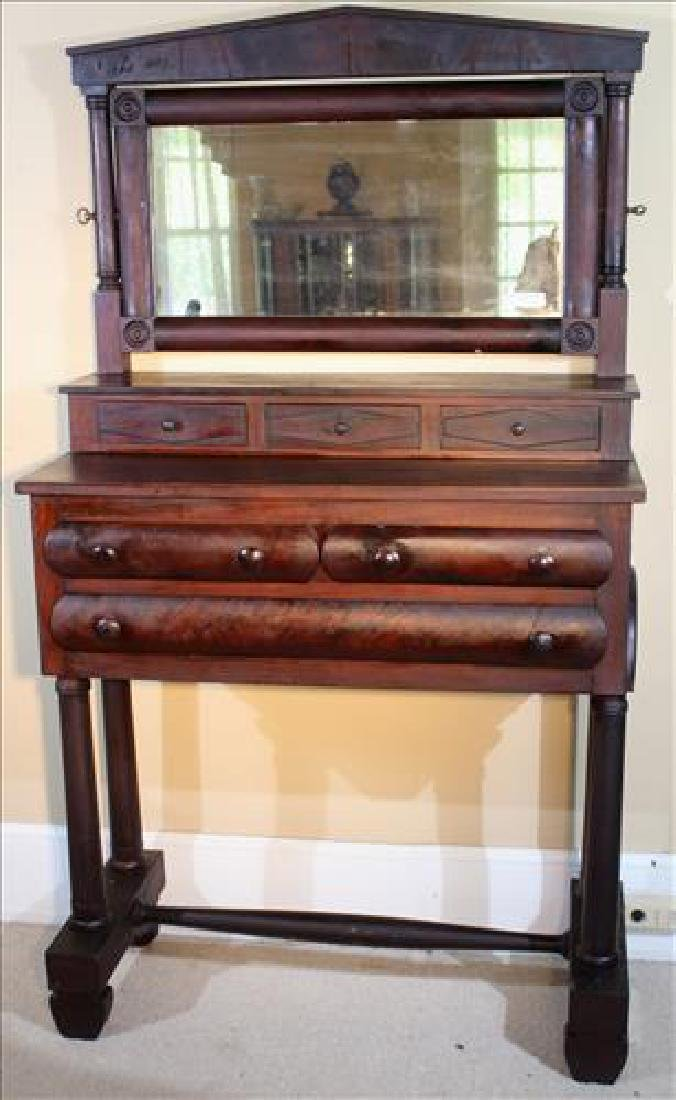 Early mahogany Empire dressing stand with mirror