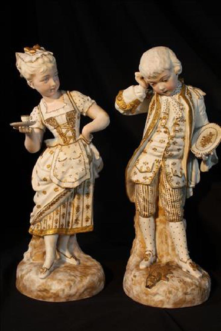 Pair porcelain figurines of French Gentlemen