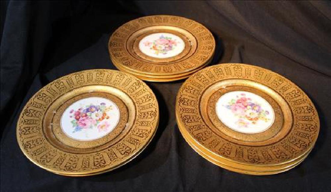 Set of 8 H & C Bavaria gold rimmed plates w flowers