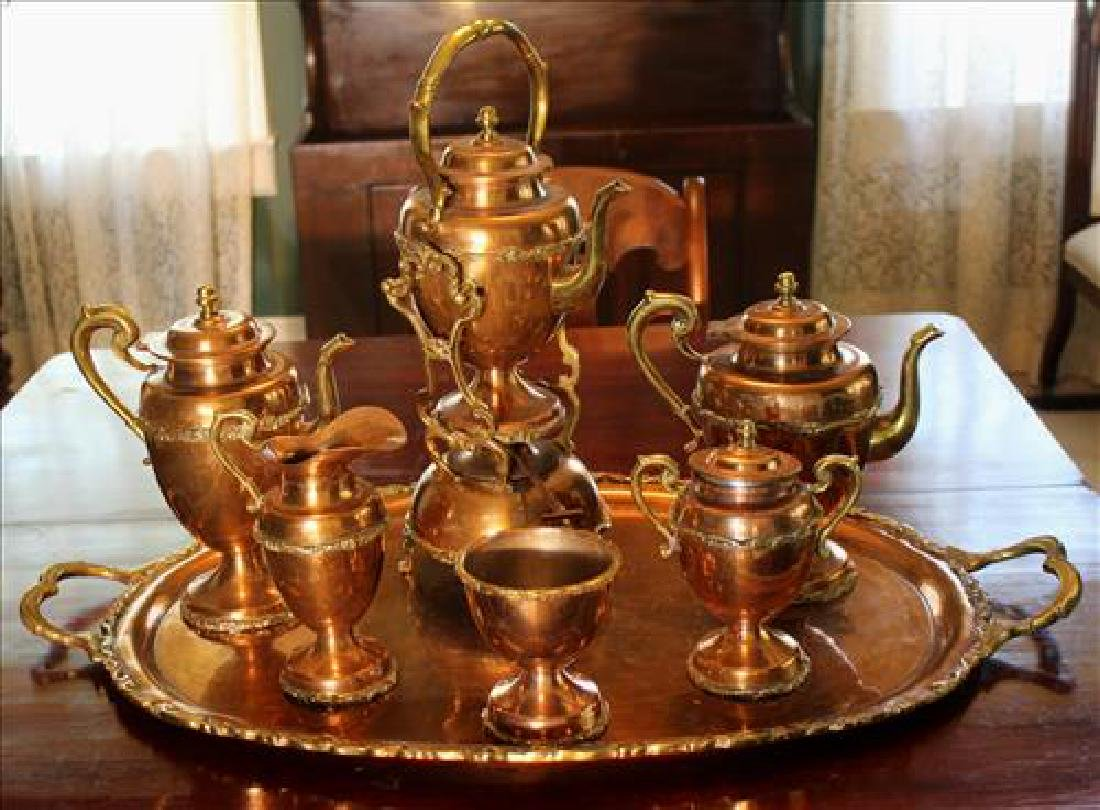 7 piece Victorian brass tea service set
