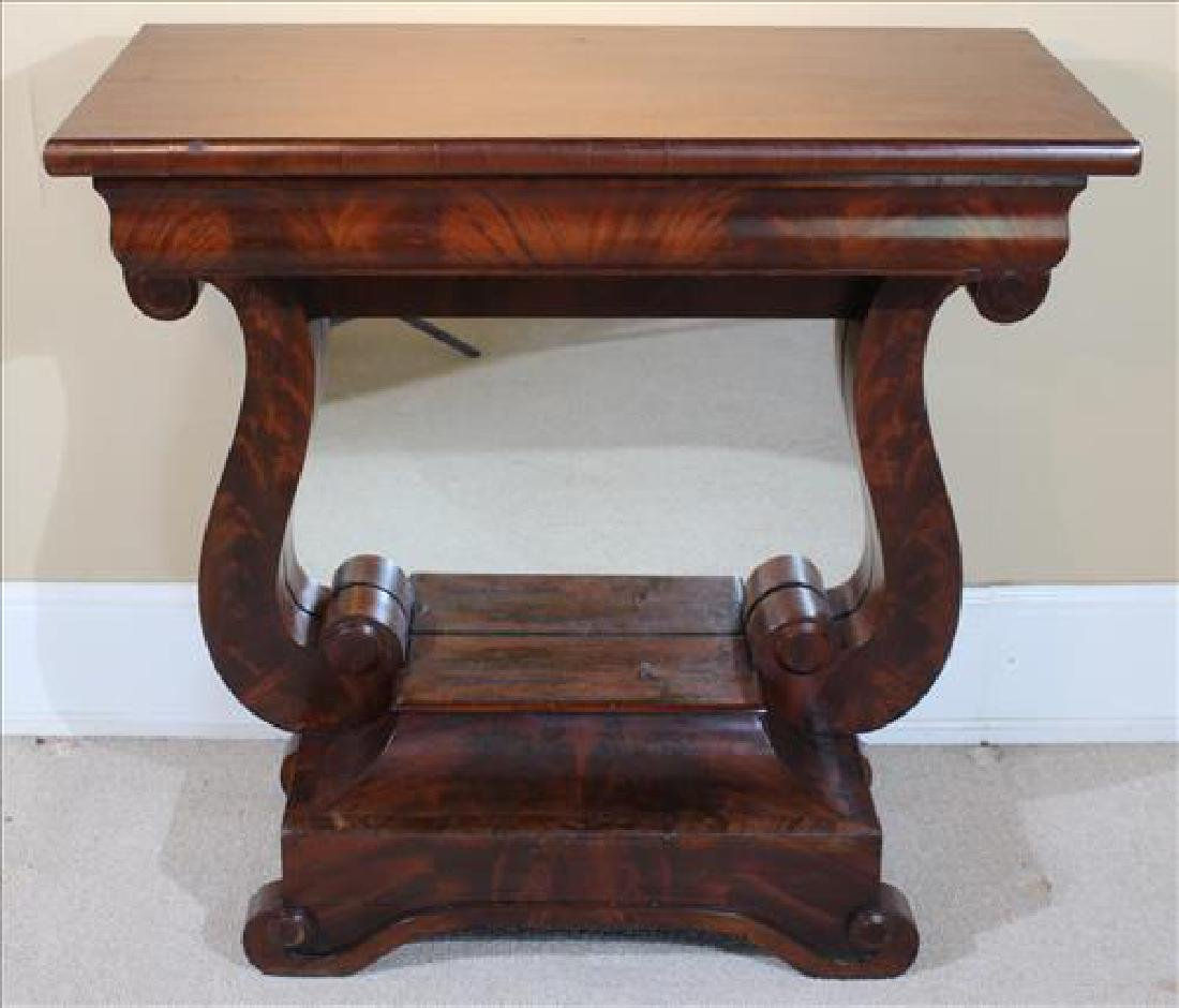 Mahogany Empire pier table with yolk style base
