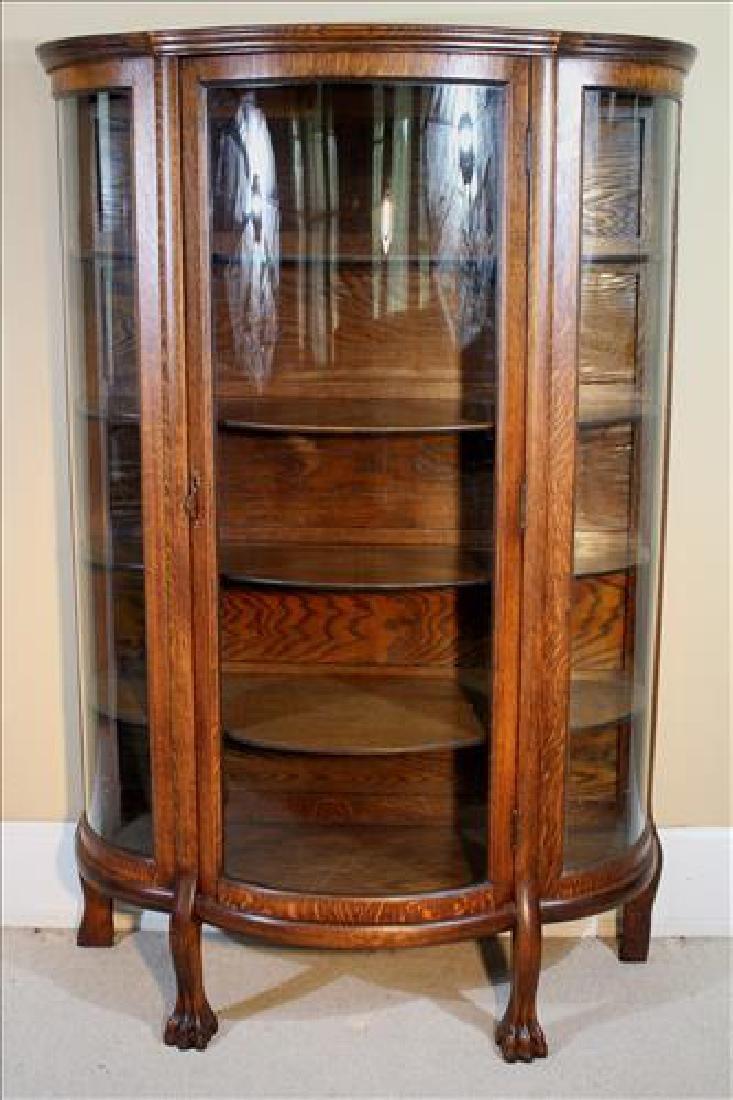 Oak curve glass china cabinet with original shelves