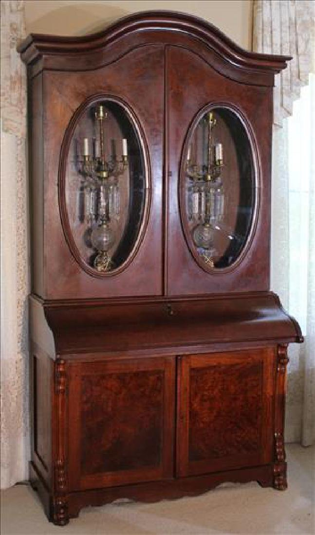 Walnut Victorian secretary bookcase w oval glass doors
