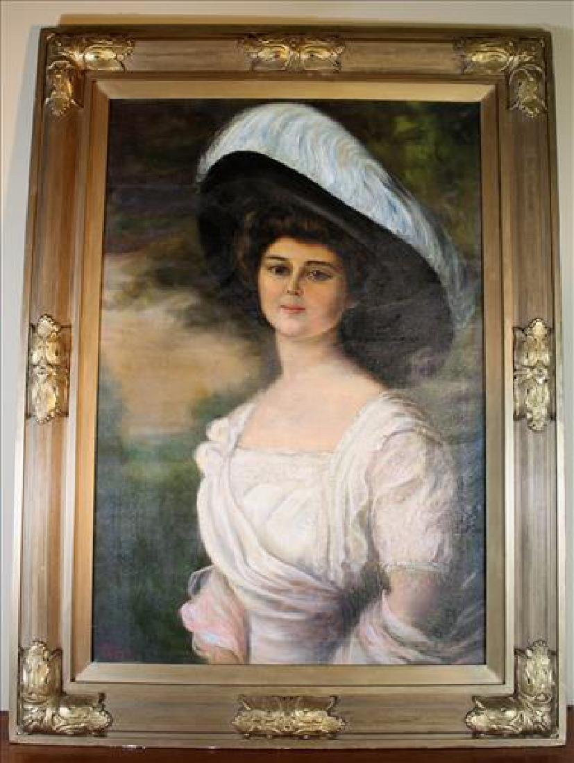 Large oil on canvas of French girl with big hat
