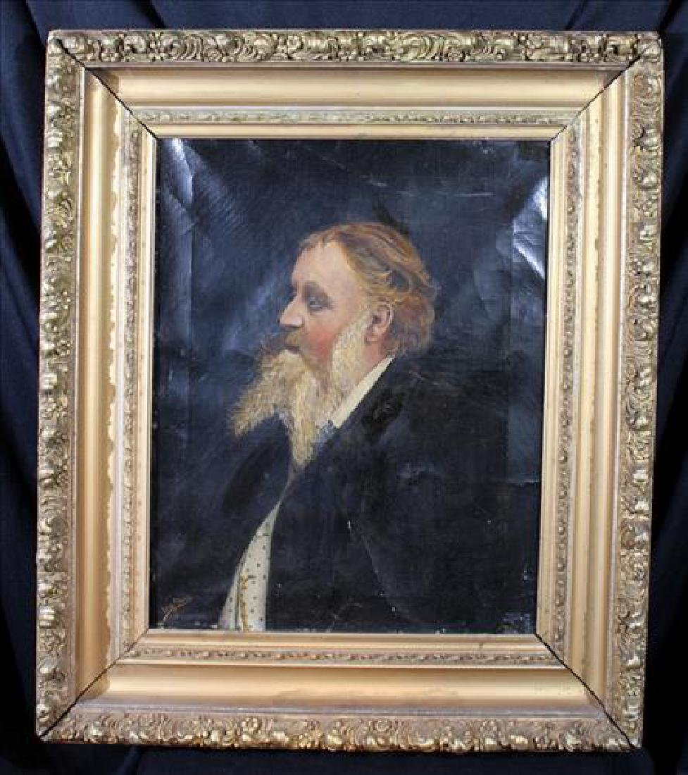 Oil on canvas of man in gold gilded Victorian frame