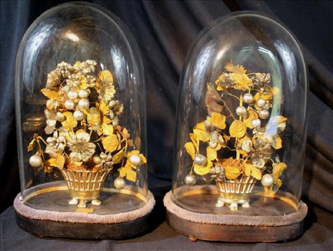 Pair Victorian domes with silk flowers in old paris