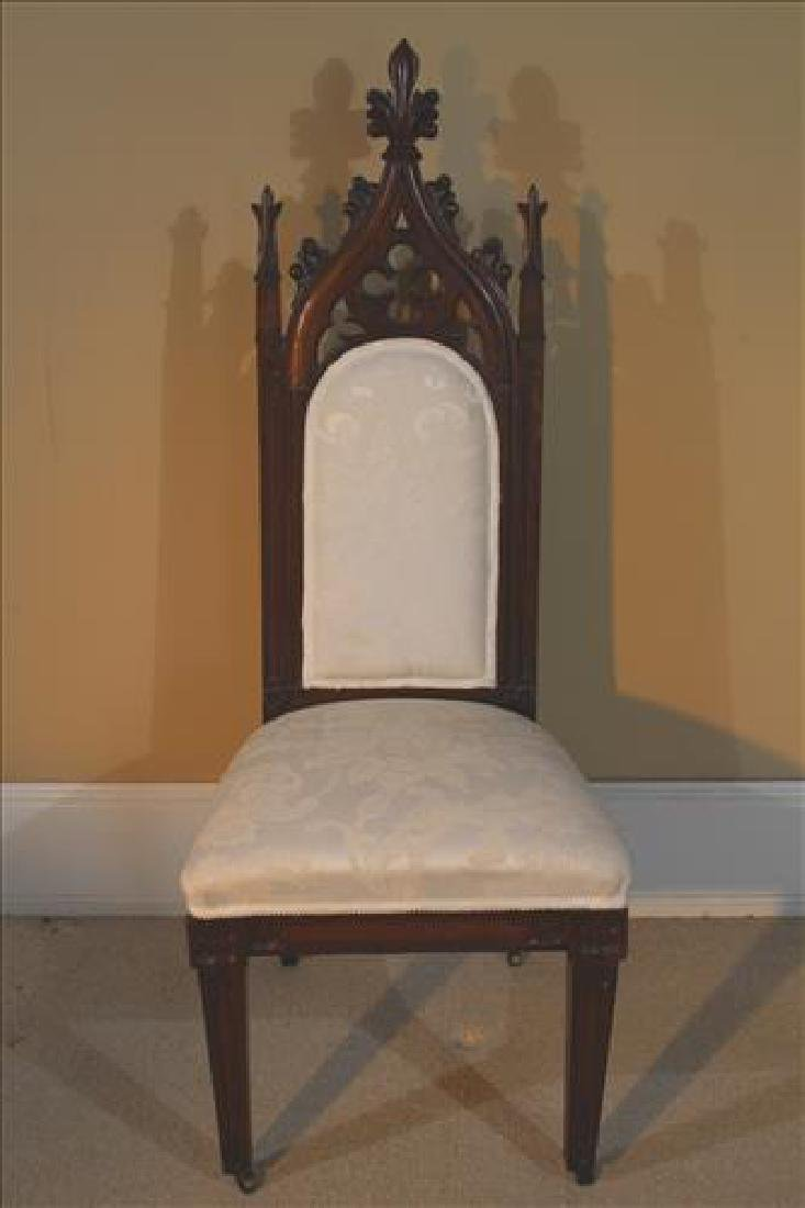 Gothic walnut Victorian side chair with white