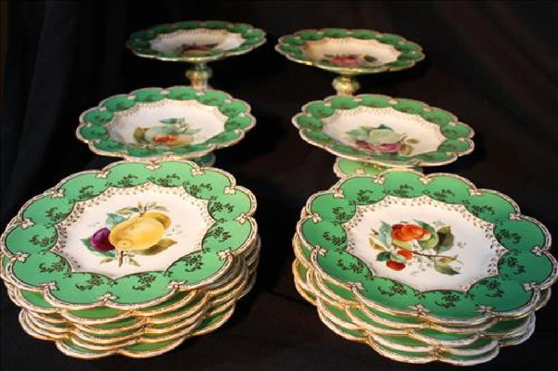 15 pieces of old paris dessert set, green, gold and