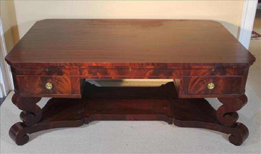 Flame mahogany Empire partners desk w scroll feet