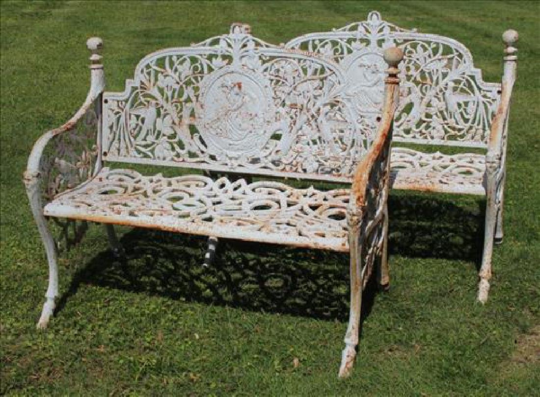 Pair cast iron garden benches with lady and birds