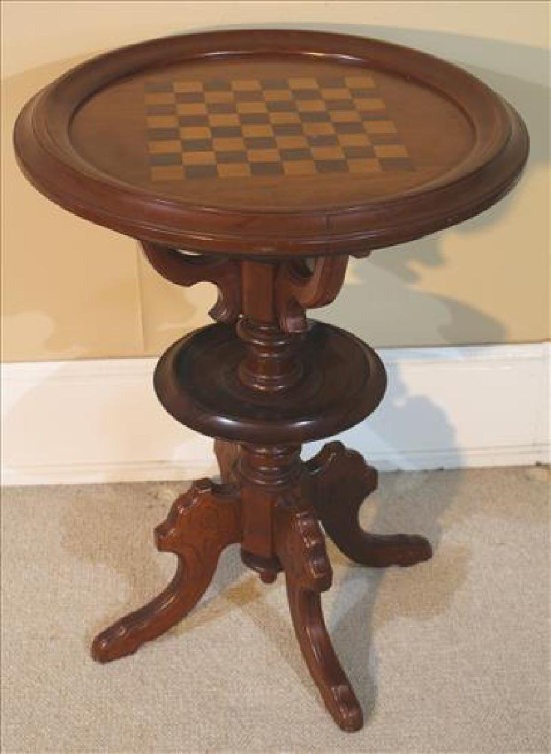 Walnut Victorian game table with checker board top