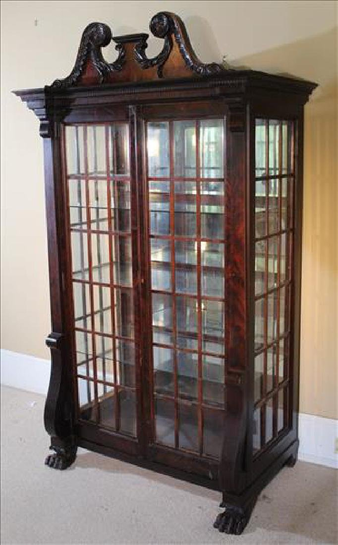 Mahogany Empire china cabinet with glass on all 4 sides