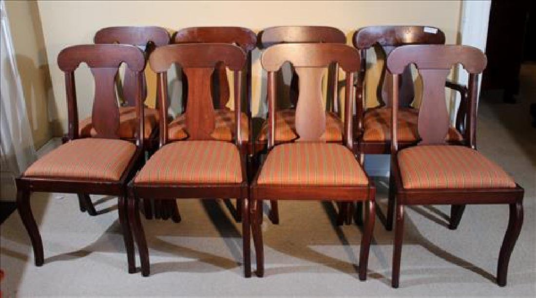 Set of 8 mahogany Empire dining chairs