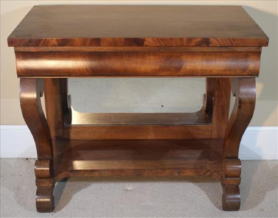 Mahogany Empire pier table with scroll feet
