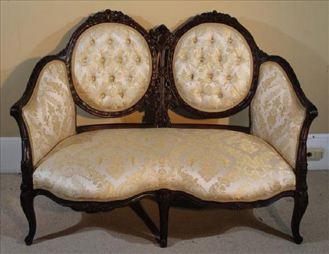 Antique mahogany French double back love seat