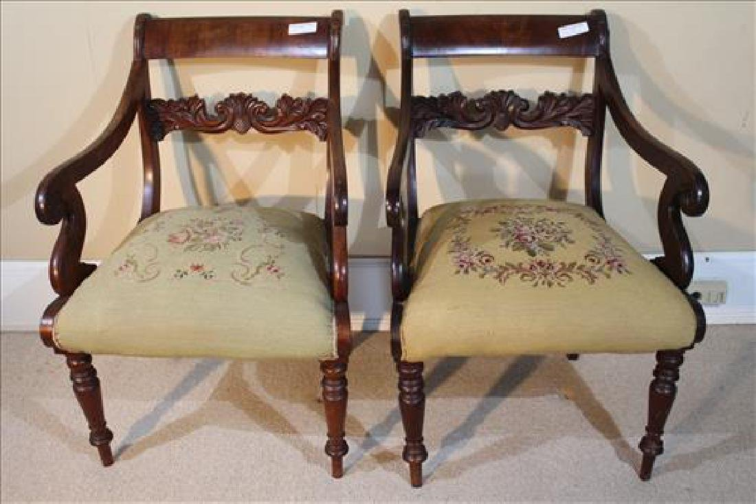 Pair Mahogany Empire arm chairs with needlepoint
