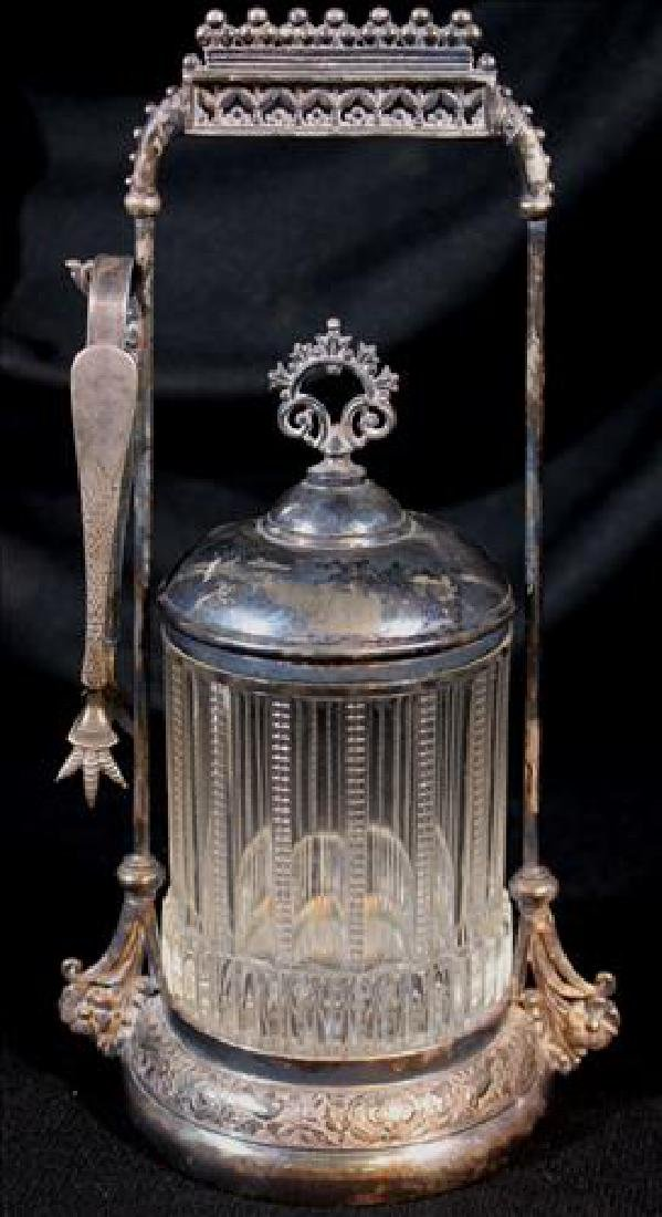 Old silver-plate pickle castor with clear etched jar