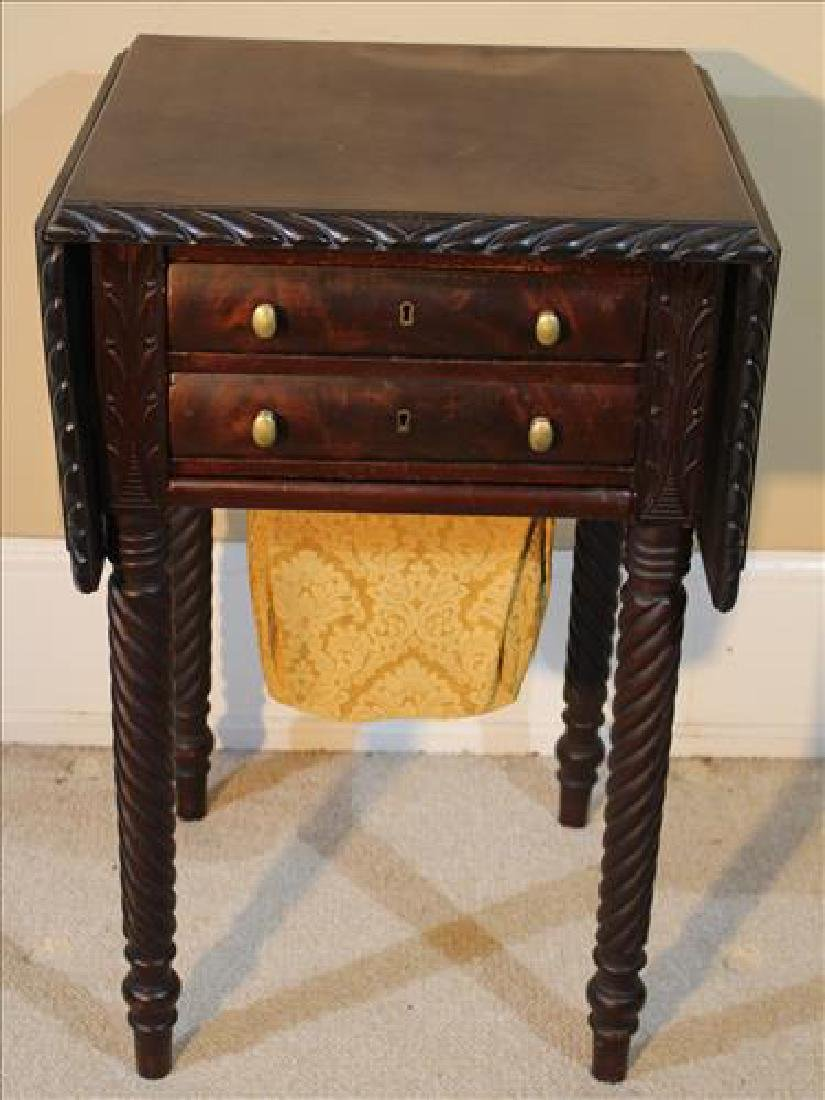 Mahogany Empire sewing table with yarn drawer