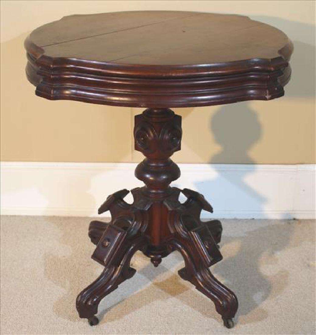Walnut Victorian center lamp table with original finish