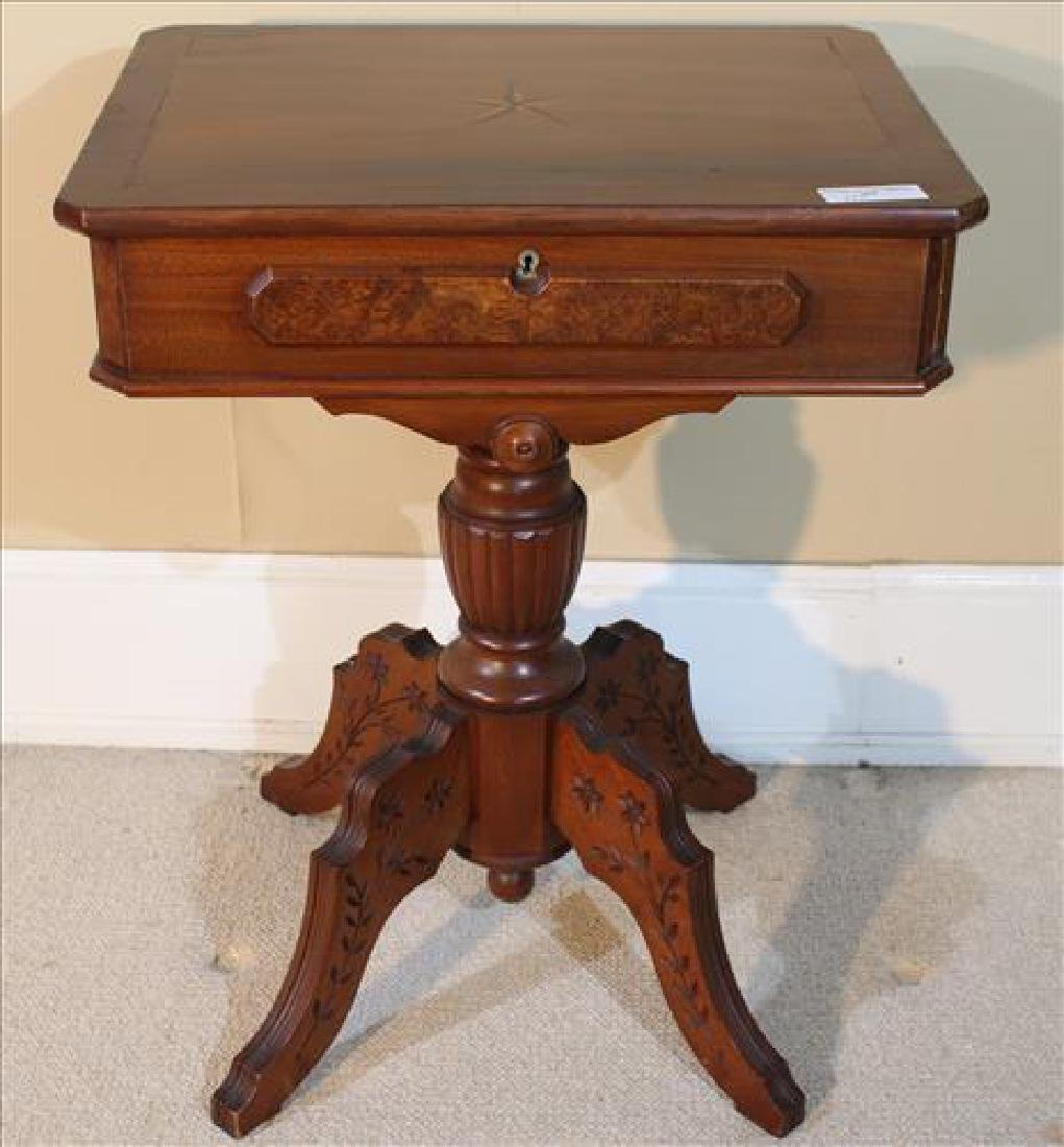 Walnut Victorian pedestal lamp table with carving