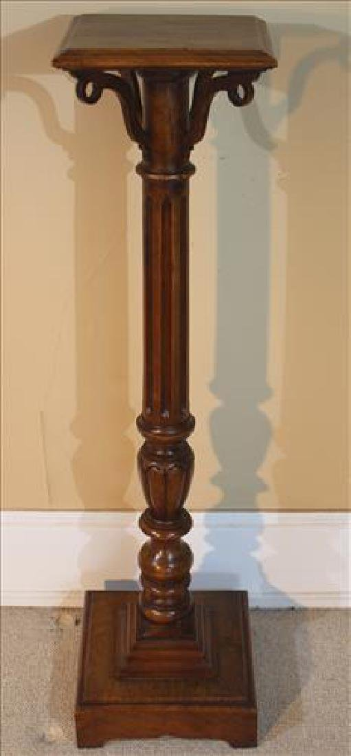 Contemporary walnut Victorian pedestal with turn base