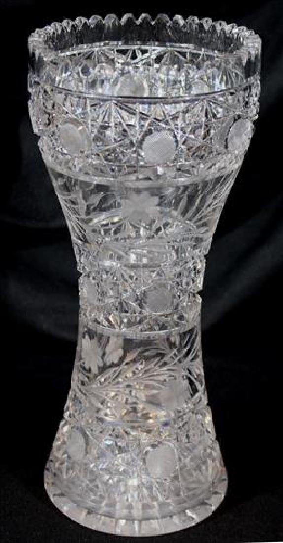 Cut glass flower vase, 12 in. T, 5 in. Dia.