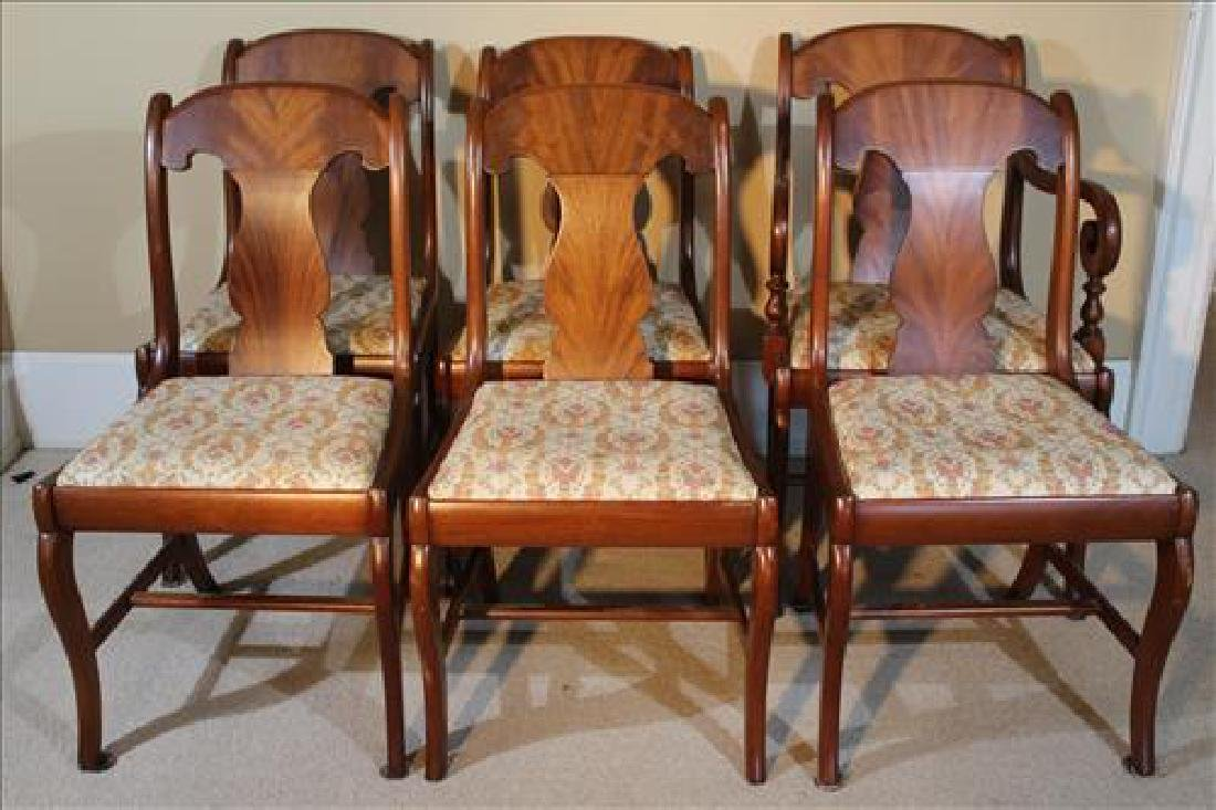 Set of 6 mahogany Empire dining chairs