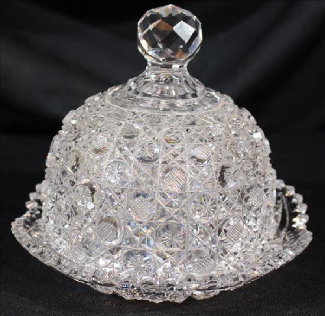 Cut glass butter dome, 6 in. T, 7 in. Dia.