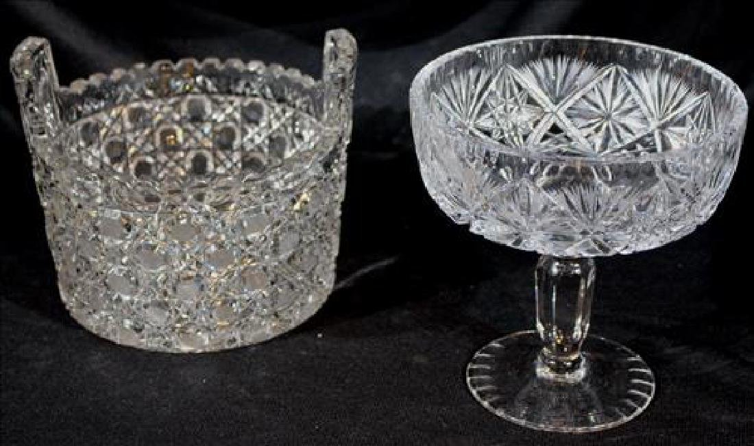 2 piece brilliant cut glass ice bucket and compote