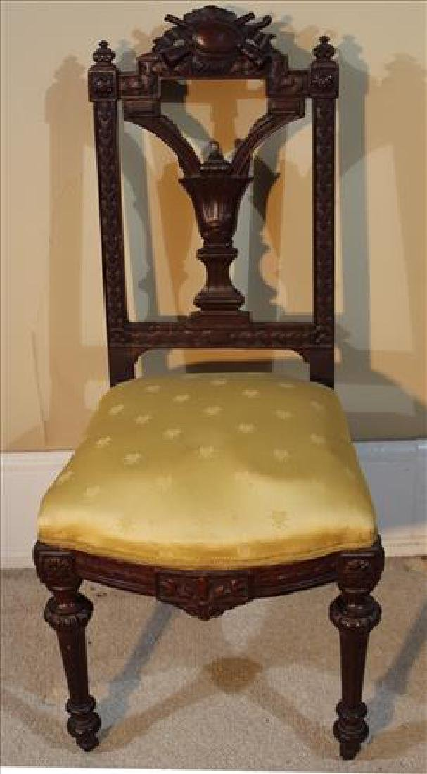 Walnut Victorian side chair, heavily carved