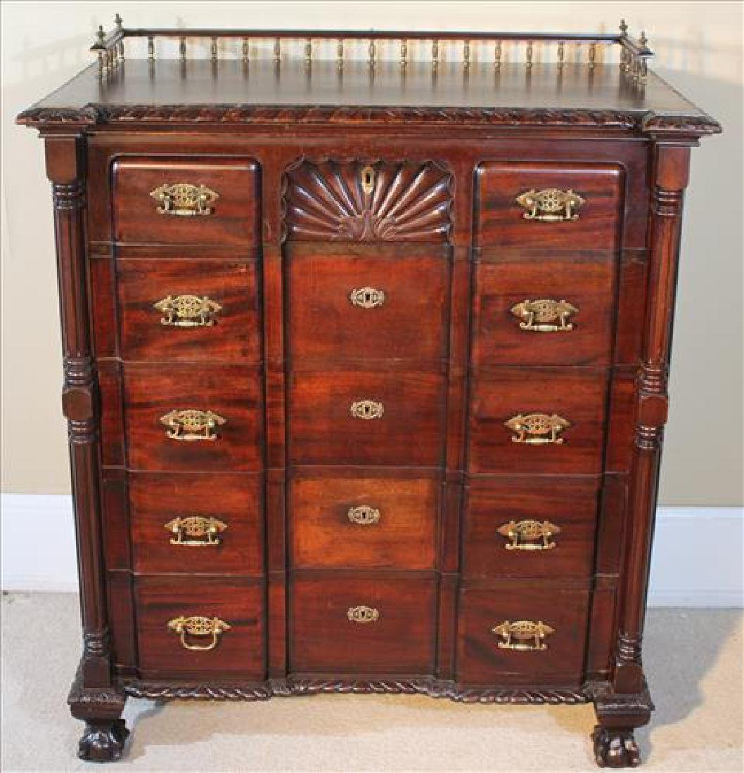 Chippendale style mahogany 5 drawer chest