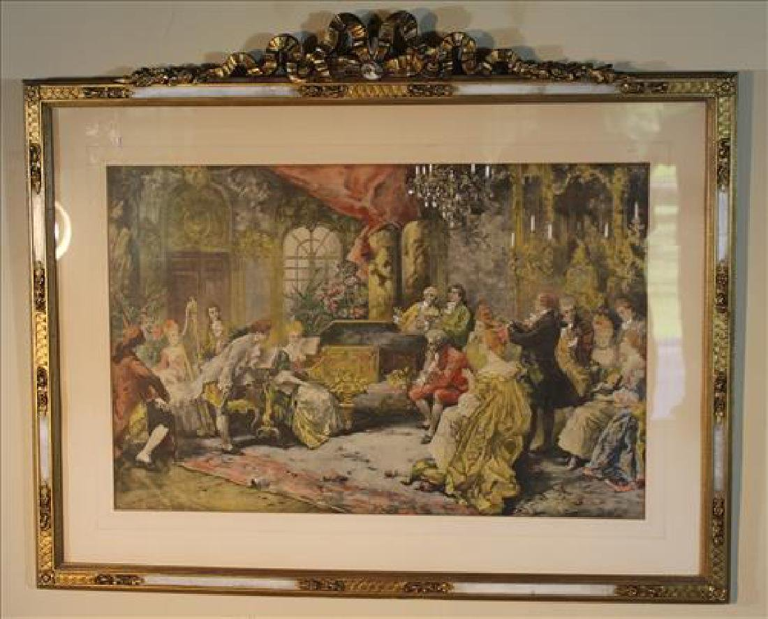 Early French print of parlor scene in gold frame