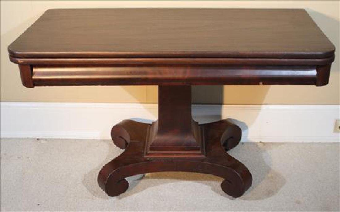 Mahogany Empire game table with scroll feet