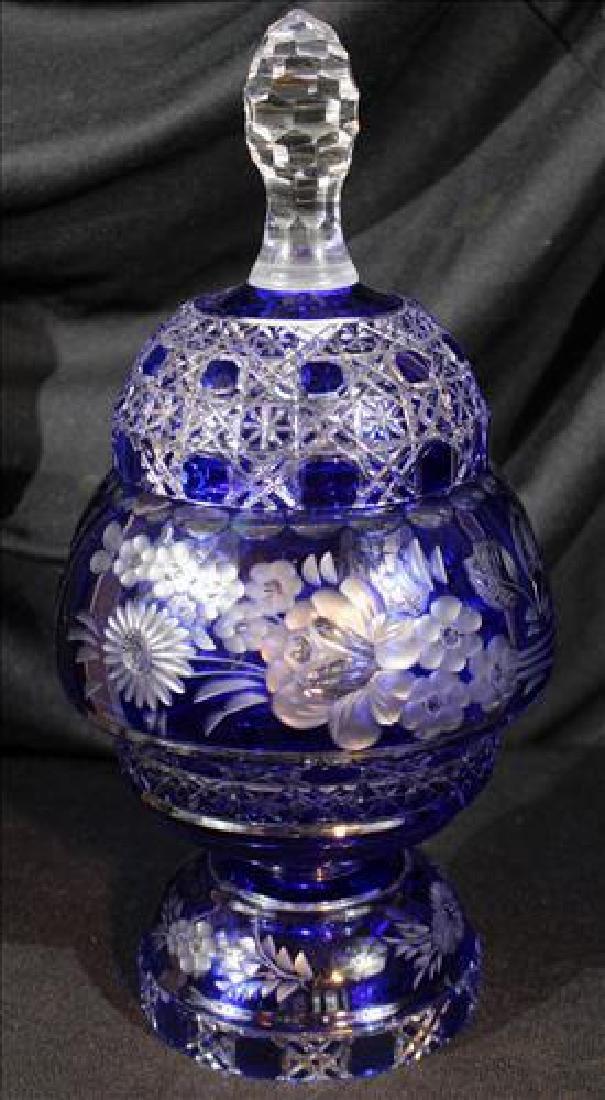 Blue cut glass capped urn, 15 in. T.