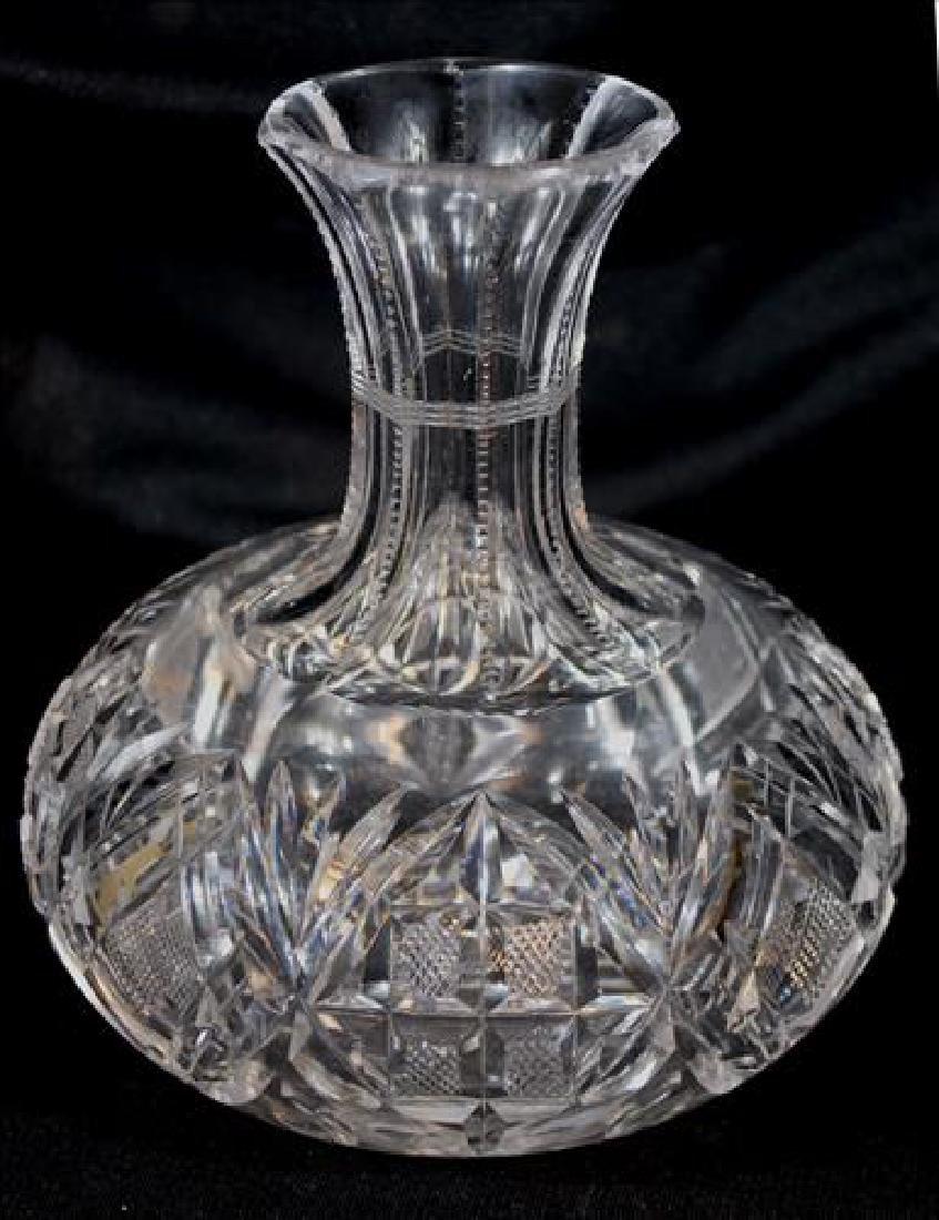 Cut glass water carafe, 8 in. T, 3 in. Dia.