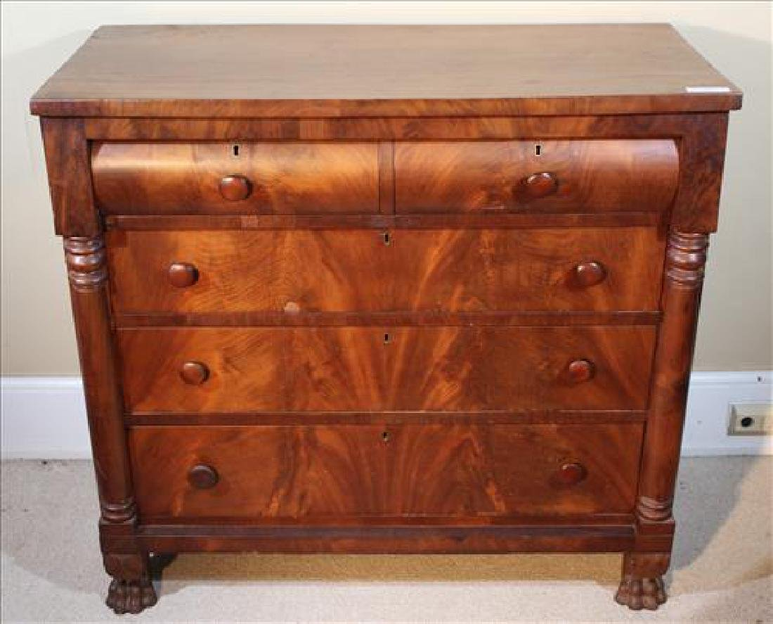 Mahogany Empire 5 drawer chest with claw feet