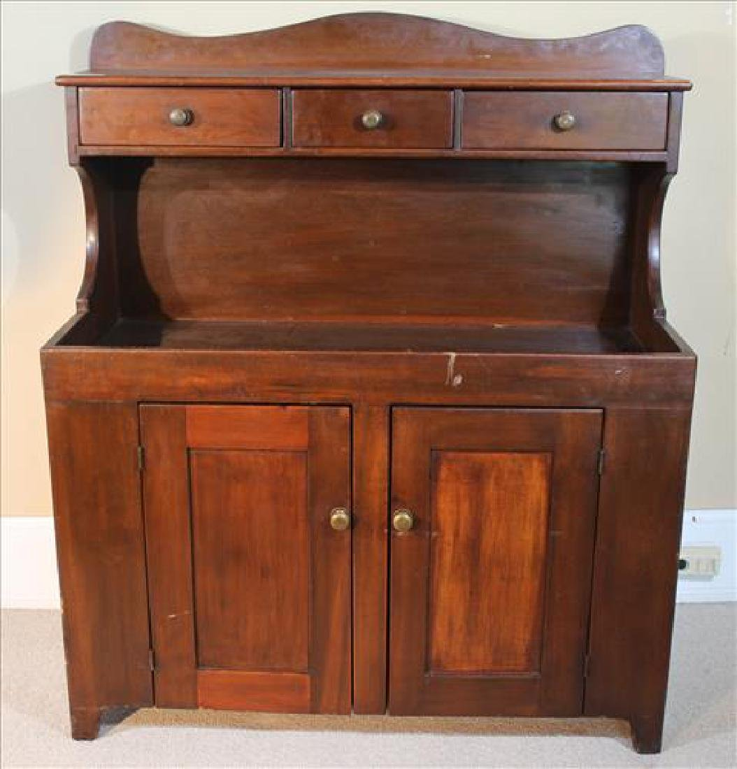 Primitive walnut dry sink with 3 drawers