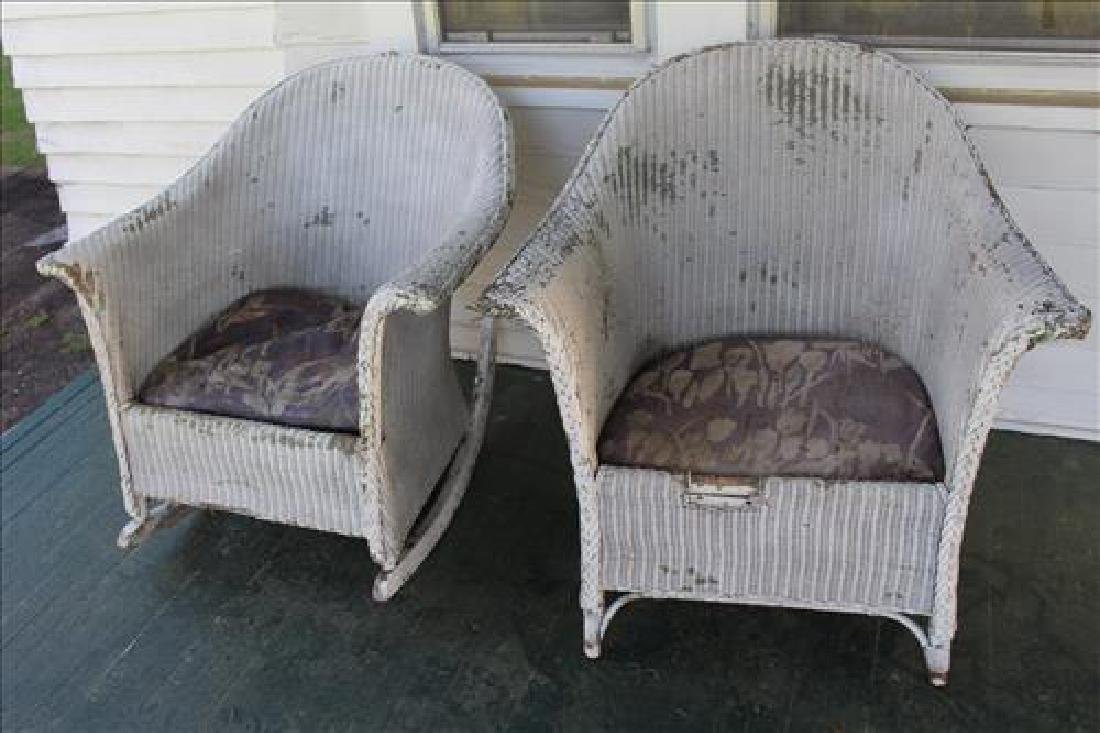 2 pieces, wicker chairs and 1 rocker