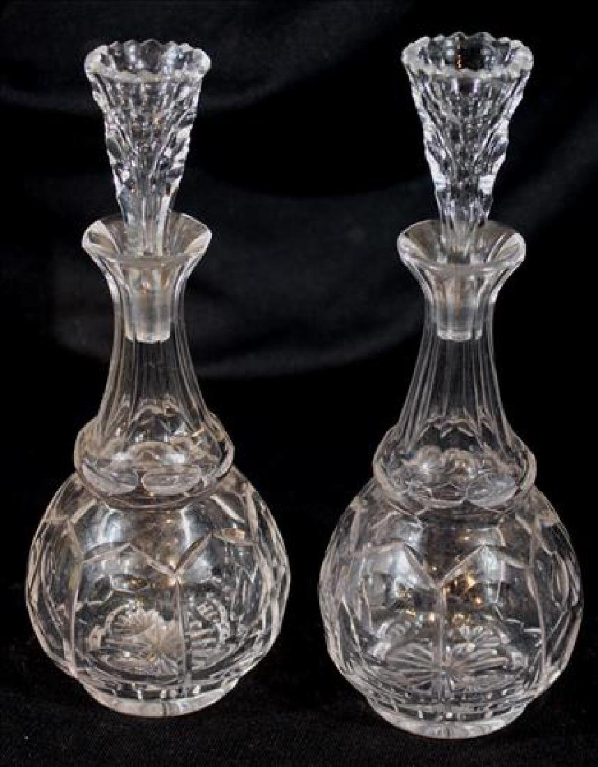 Pair of pressed glass vinaigrettes, 9 in. T.