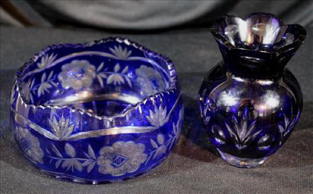 2 pieces blue cut glass, bowl and small vase, 5 in. T,