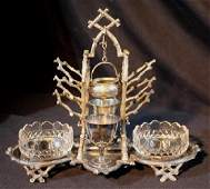 Silver-plate Victorian condiment set, 9 in. T, 11 in.